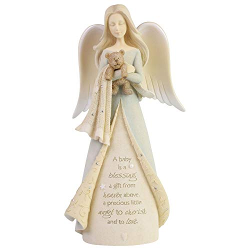 Enesco Foundations New Baby Blessing Angel Figurine, 8.07 Inch, Multicolor