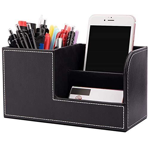 Aufbewahrungsbox für Stifte Bürobedarf Schreibtisch Organizer Ordnungssystem Tisch Leder Multifunktionale Schreibtisch Organisator Visitenkarten Lagerung Schreibtisch Stifthalter PU Leder Stiftbox