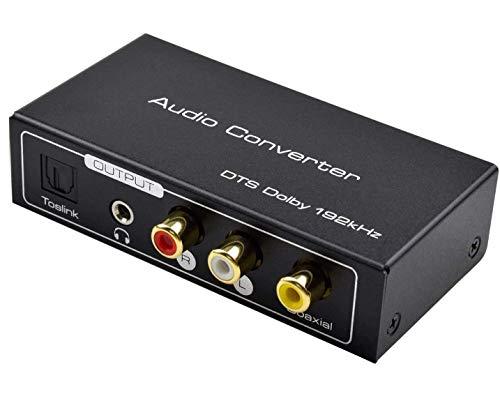 AMANKA HDMI ARC Audio Extractor,Digital HDMI ARC zu SPDIF Koaxial Optical Cinch L/R Stereo Ausgang 3,5mm 192KHz Digital HDMI Audio auf Analog for für Blu-ray DVD PS4 TV