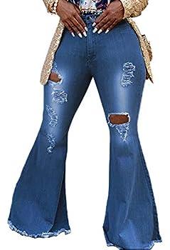 SeNight Bell Bottom Jeans for Women Ripped Bell Bottom Pants Skinny Flared Jean