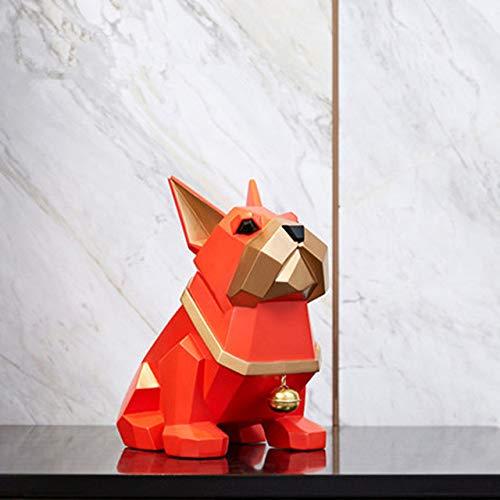 yueyue947 Origami Geometry Abstraccin Bulldog FRANCS Pequeo Bell Dog Resina Escultura Nios Dormitorio Decoracin de Dibujos Animados/Rojo / 16X20X24CM