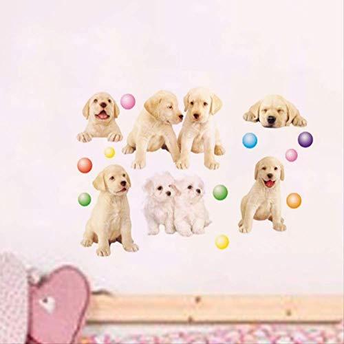 Muurstickers Cartoon Hond 3D Development Center voor Kleuterschool Kinderen Kamer Muurstickers Huisdier winkel Puppies Ballonnen, 50 * 70cm