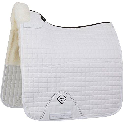 LeMieux Merino+ Half Lined Dressage Square Lammfell Dressur Schabracke, Weiß/Weiß, L