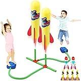 Cohete de Juegete Duelo, Lanza Cohetes Juegos para el Aire Libre Niños 2 - 8 Años con Cohetes de Air Espuma 4 Normal + 2 Luminosos, Juegos Jardin para Niños Niña Exterior, Regalo Infantiles 2 Años+