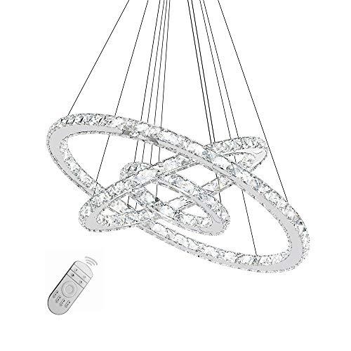 SAILUN 72W LED Kristall Design Hängelampe Drei Ringe Deckenlampe Pendelleuchte Kreative Kronleuchter Dimmbar Lüster
