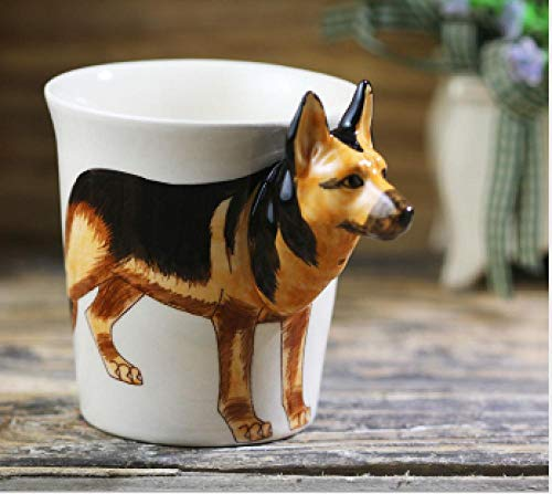 Jingmeng 2020 New Creative Personalized Ceramic Cup Hand Painted Animal Coffee Cup 3D Cartoon Mug Dog Cup/Animal Cup-German_Shepherd_Dog_300Ml