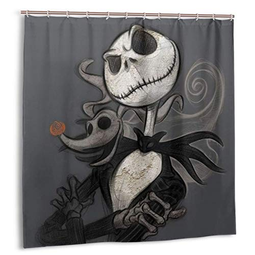 Valentines Day Shower Curtain Nightmare Before Christmas Shower Curtain 72 x 72 inches Jack Skellington Romantic Waterproof Bath Curtain Sets Bathroom Happy Halloween Decor with Hooks