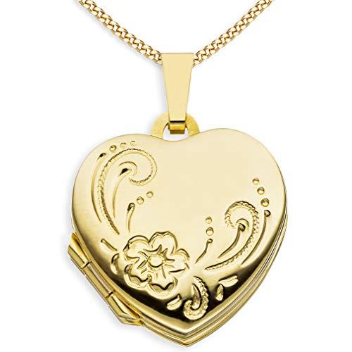 Medaillon Doppelmedaillon Herz Hochglanz Ornament verziert 333 Gelbgold 8 Karat Gold zum öffnen für Bildereinlage 4 Fotos Amulett Verzierung von Haus der Herzen® + Kette mit Schmuck-Etui