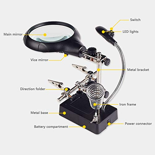 GOG Lupa, lupa portátil multipropósito, escritorio con lámpara, reloj de soldadura HD, teléfono móvil, placa base, lámpara de reparación, luces LED, placas de circuito de TV casera