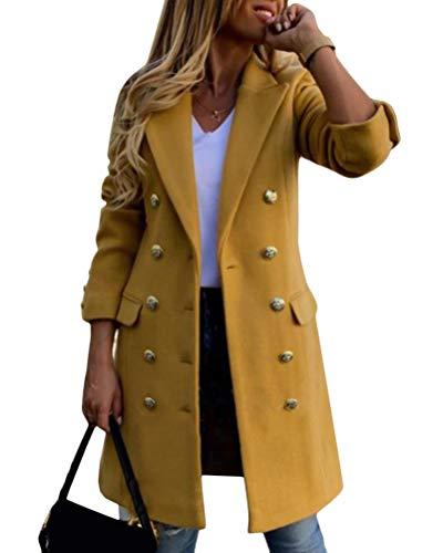Tomwell Mujer Abrigo Casual Delgado Color Sólido Manga Larga Abrigo Otoño E Invierno Chaqueta Gabardina Lana Doble Botonadura Outwear Jacket Coat A Amarillo S