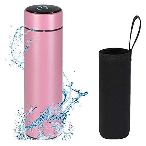 Flintronic Thermosflasche, 500ML Wasserflasche Vakuum Isolierbecher 304 Edelstahl, LCD-Touchscreen-Temperaturanzeige, Smart Becher Dichtflasche Ideal für Hitze und Kälte - Pink