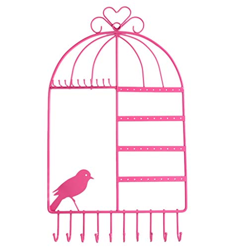 AMAZING1 Wall Mount Hanging Jewelry Organizer Display Necklace Hanger with Bird Cage Shape - Pink