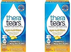 TheraTears 1200mg Omega 3 Supplement for Eye Nutrition, Organic Flaxseed Triglyceride Fish Oil and Vitamin E, 90 Count, 2 Pack