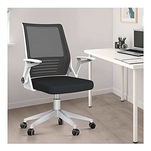 LINGZE Silla de Oficina en casa, Silla de Escritorio con apoyabrazos abatible, sillas ergonómicas para computadora, Silla de Malla Ajustable en Altura giratoria de 360 ° (Blanco)