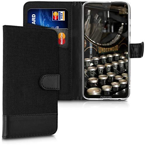 kwmobile Wallet Hülle kompatibel mit Motorola Moto G7 / Moto G7 Plus - Hülle mit Ständer - Handyhülle Kartenfächer Anthrazit Schwarz