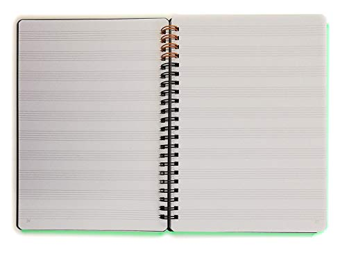 Cuaderno con espiral en formato A5 15 x 21 cm con 10 líneas pentagrama