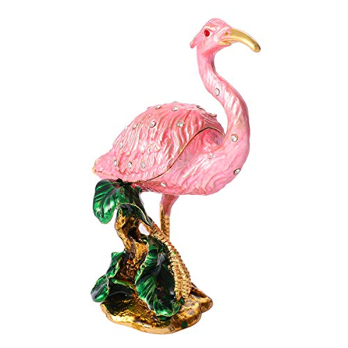 QIFU Vintage Hand Painted Flamingo Hinged Jewelry Trinket Box with Rich Enamel and Sparkling Rhinestones Unique Gift Home Decor Best Ornament Your Collection