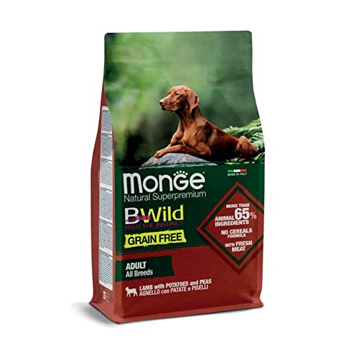 Monge Cane CROCCHETTA BWILD Grain Free all Breeds Adult con Agnello,Patate E Piselli kg. 12