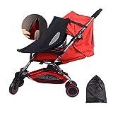 *LIBRNTY Para-sol carret beu universal,Ombrel·la per a cotxet de bebè, tendal per a carrets de bebè, cotxet de sol ombrel·la tendal protector solar protecció UV+Borsa d'emmagatzematge (negre)