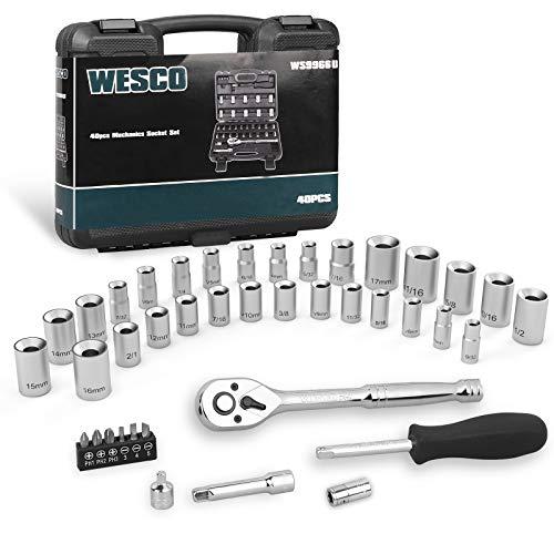 WESCO Socket Set, 40-Piece 1/4