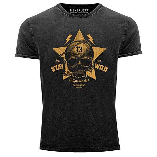 Neverless® Herren T-Shirt Totenkopf Vintage Tattoo Shirt Stay Wild Skull Print Used Look Slim Fit schwarz L