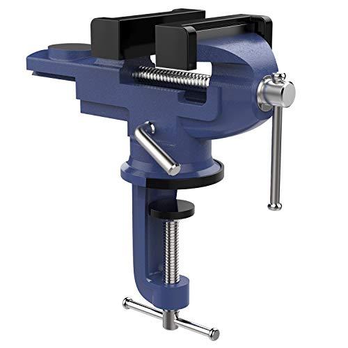 Nuovoware Tornillo de Banco Universal de Precisión con Base Giratoria de 360 Grados, Table Vise, Abrazadera Gruesa de Trabajo Pesado para Carpintería, Metalurgia, Conducto de corte, Taladrado - Azul