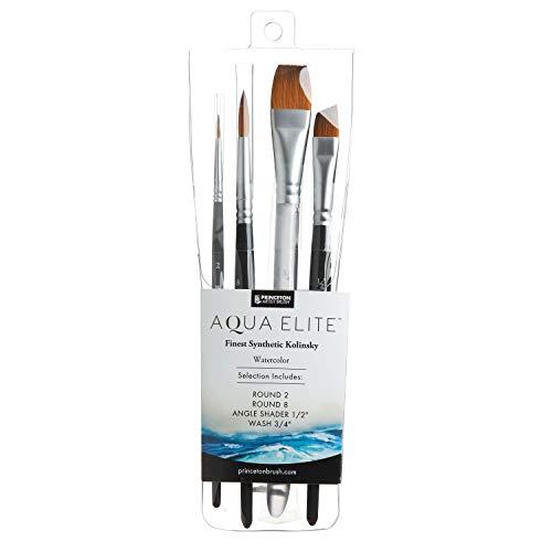 Princeton Aqua Elite, Series 4850, Synthetic Kolinsky Watercolor Paint Brush, 4 Piece Set