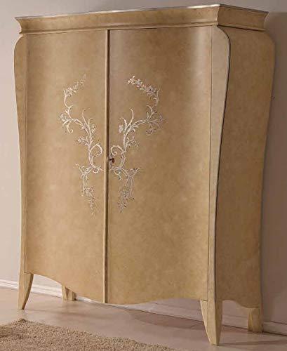 Dafne Italian Design Kleiderschrank mit 2 Schiebetüren, lackiert, Motiv Blattsilber (cm. L. 164 - H. 210 - P. 65) (TVG)