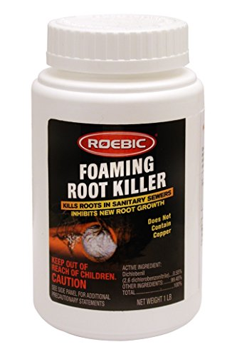 Roebic FRK-1LB Foaming Root Killer, Clears Pipes and Stops New Growth, Safe for All Plumbing, 1 Pound