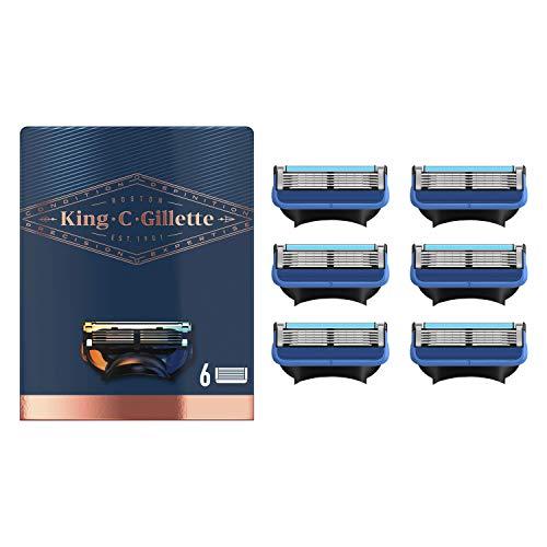 King C. Gillette Rasierklingen für Rasierer Herren mit Trimmer für Präzision, langlebige Klingen, 6 Ersatzklingen