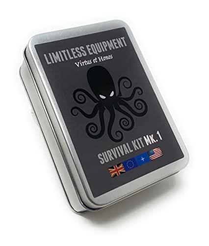 Limitless équipement Mark 1 kit de survie: format de poche, Niveau de contenu PRO. emballé avec plus de 40 articles - led d'urgence, équipement de pêche, premiers secours et bien plus encore