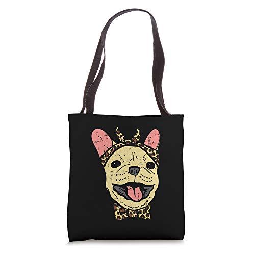 French Bulldog Leopard Print Bandana Cute Frenchie Dog Gift Tote Bag