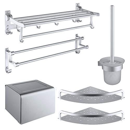 Bathroom Towel Rack Towel Rack, Space Aluminum Alloy Hanging Five-Piece Bath Towel Hanger, Hardware Kitchen Rack Pendant