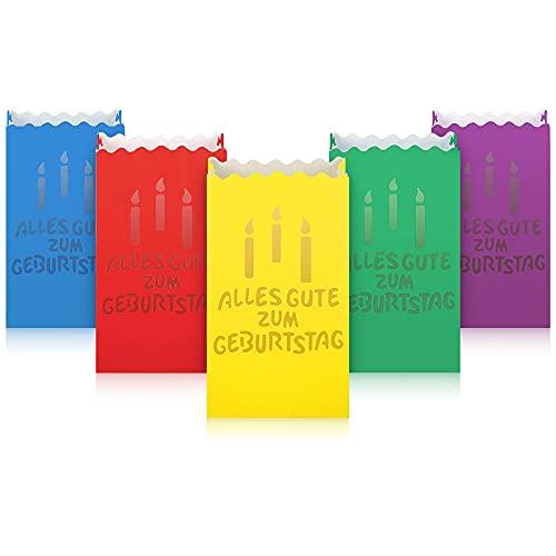 ecooe 10 STK. Kerzentüten Bunt Alles Gute Zum Geburtstag Papiertüten Candle Bags für Birthday Party Lichtertüten für Teelichter LED Kerzen Lichttüten Tischdeko Geburtstag