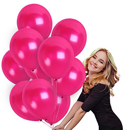 100 12 Inch Thick Shiny Metallic Latex Magenta Fuchsia Pink Balloons with Ribbon Wedding Decorations Graduation Party Birthday Valentines