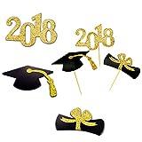 TankerStreet 48 Stück 2018 Abschlussfeier Cupcake Toppers mit Schwarz Doktorhut Krawatte Nummer 2018 Pattern Gold Glitter Cupcake Kuchen Dekorationen Graduation Toppers Picks für Abschluss...
