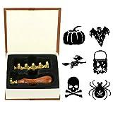 ANBOSE Juego de sellos de cera para Halloween, diseño de murciélago, calabaza,...