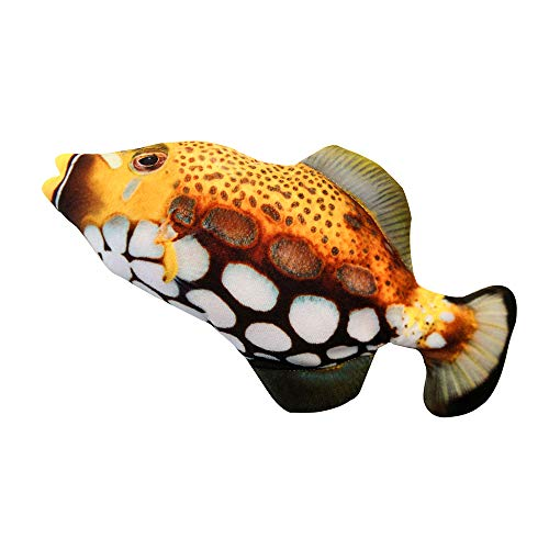 Festnight Realistic Plush Simulation Electric Doll Fish Funny Interactive Pets Chew Bite Supplies for Cat Fish Flop Cat Toy for Biting and Kicking