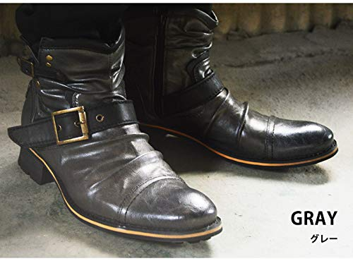 『[ジーノ] ドレープ エンジニアブーツ ショートブーツ ワークブーツ ブーツ サイドジップ メンズ 靴』の7枚目の画像
