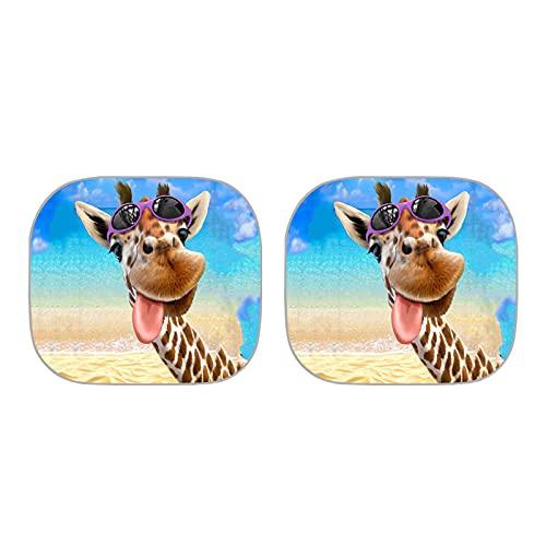 Howilath Bonito parasol para coche, diseño de jirafa, ideal para regalo, 2 piezas, ajuste universal, todoterreno, camión, anti-UV, accesorios de decoración de vehículos