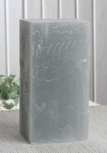 Rustik-Stumpenkerze, viereckig, 15 x 7,5 x 7,5 cm Ø, grau
