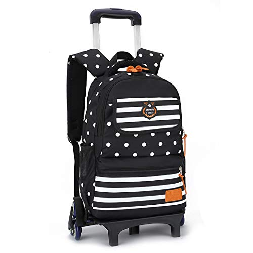 Kids Trolley Backpack - Backpacks for Girls School Bags Casual,2 Wheels 6 Wheels-black-6wheel