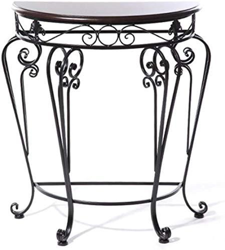 Blumenständer European Style Iron Classical Schreibtisch Halbrunder Tisch Eingangstisch Tee Beistelltisch Set Blumenständer 60 * 30 * 70cm Stabil, Platzsparend (farbe: Bronze)-schwarz Blumentreppe