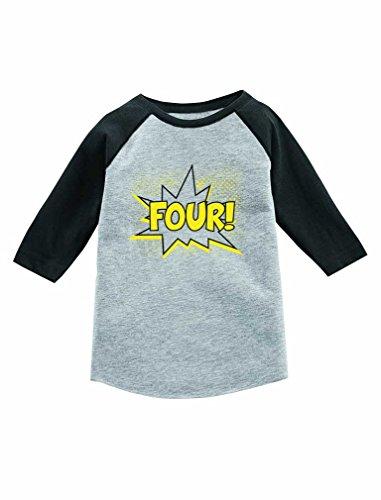 Tstars Four! Superhero Birthday 4 Year Old 3/4 Sleeve Baseball Jersey Toddler Shirt 5/6 Dark Gray