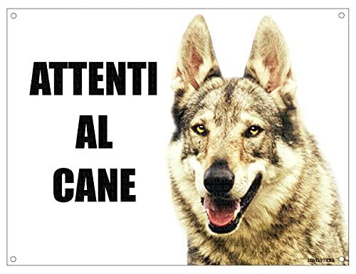 LUPO CECOSLOVACCO attenti al cane mod 2 TARGA cartello IN METALLO (15X20)
