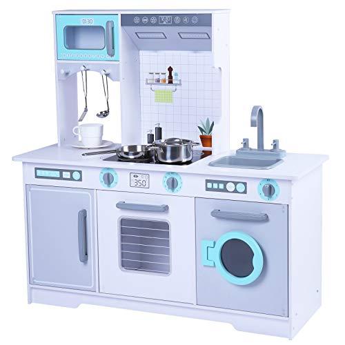 TikTakToo Cocina infantil de madera para niños y niñas a partir de 3 años, cocina de madera extra grande, cocina de juegos, incluye juego de 5 accesorios
