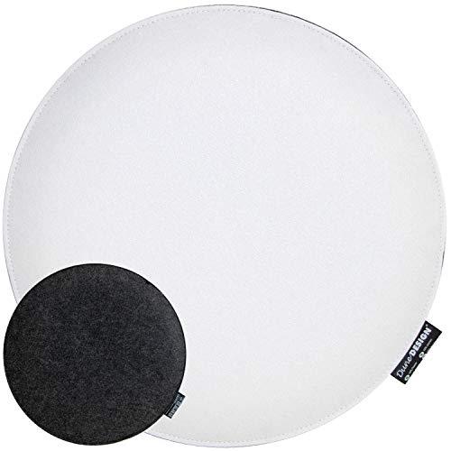 DuneDesign Cuscino di Feltro per Sedia Ø35cm Tondo Spesso 25mm Antracite Bianco