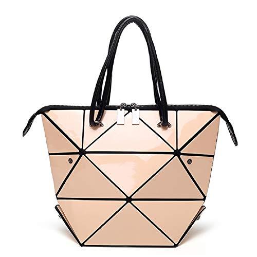 Geometric Tote Bag for Women, Holographic Purse and Handbag Changeable Shoulder Satchel Crossbody Bag Luminous, Apricot