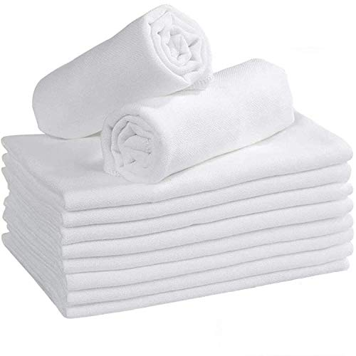 DUDU N GIRLIE 3 Pack Large 70x70 Baby Muslin Squares - 100% Natural Soft Cotton Baby Muslin Cloths - Soft Muslin Wash Cloths, Muslin Swaddle Blanket, White
