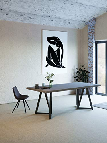 Limari Home Larismont Collection Modern Style Room Stain & Rust Resistant Rectangular 6-8 Persons Concrete Dining Table with Powder Coated Steel Base, Dark Grey & Black